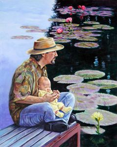 Man and Child in the Garden - Paintings by John Lautermilch