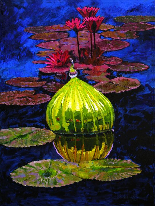 Lily and Glass Reflections 76-2008 - Paintings by John Lautermilch