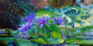 Harmony of Purple and Green 80-2008 - Paintings by John Lautermilch