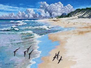 Beach Walking - Paintings by John Lautermilch