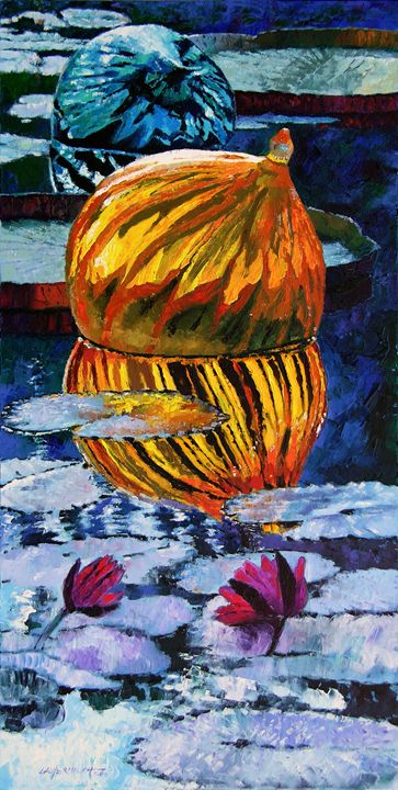 Glass Reflections on Lily Pond 6-200 - Paintings by John Lautermilch