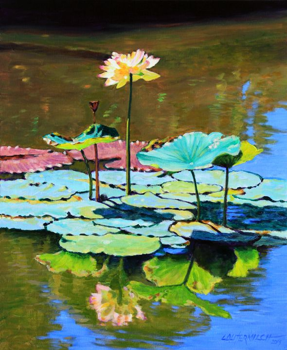 Water Lily From Above Painting
