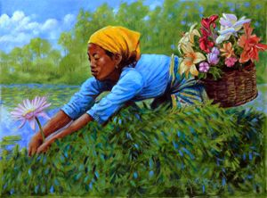 Woman Picking Flowers 6-2003 - Paintings by John Lautermilch