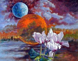 Cyclamen Over New World 20-2001 - Paintings by John Lautermilch