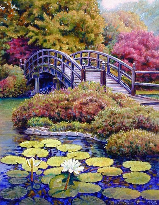Japanese Bridge 39-2002 - Paintings by John Lautermilch