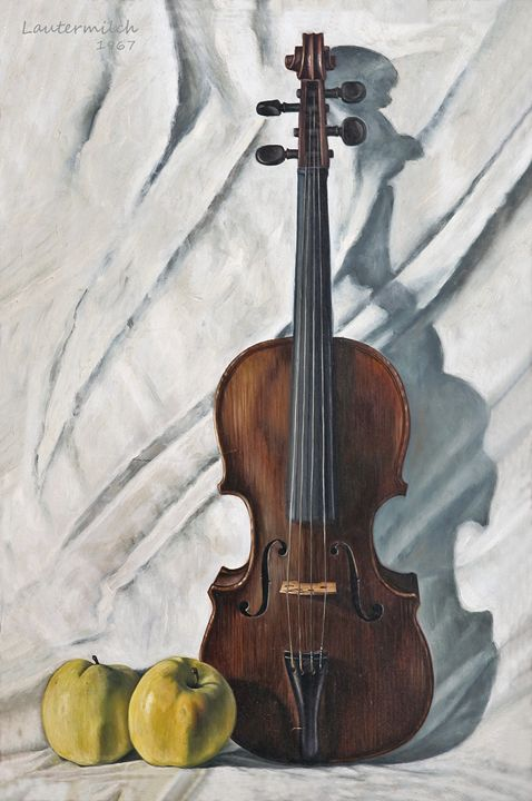 Violin and Apples 1967 - Paintings by John Lautermilch