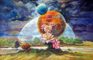 Moon Over New Planet 6-1991 - Paintings by John Lautermilch
