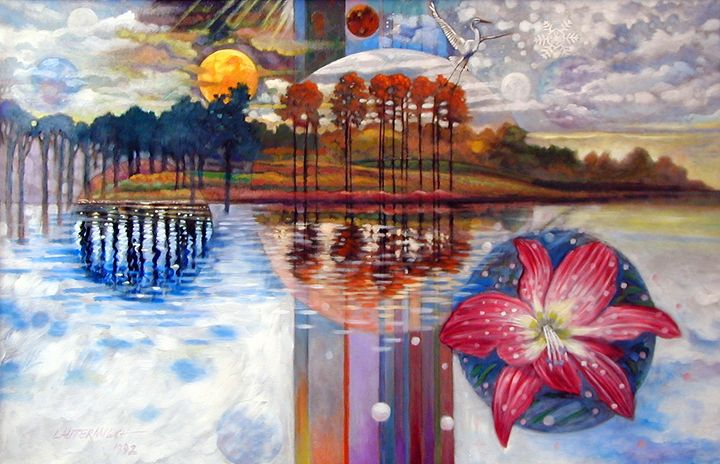 Planets Rising Over Louisiana 10-199 - Paintings by John Lautermilch