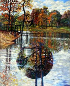 Fall Lake 90-1990 - Paintings by John Lautermilch