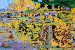 Sparkles on the Lily Pond 61-2013 - Paintings by John Lautermilch