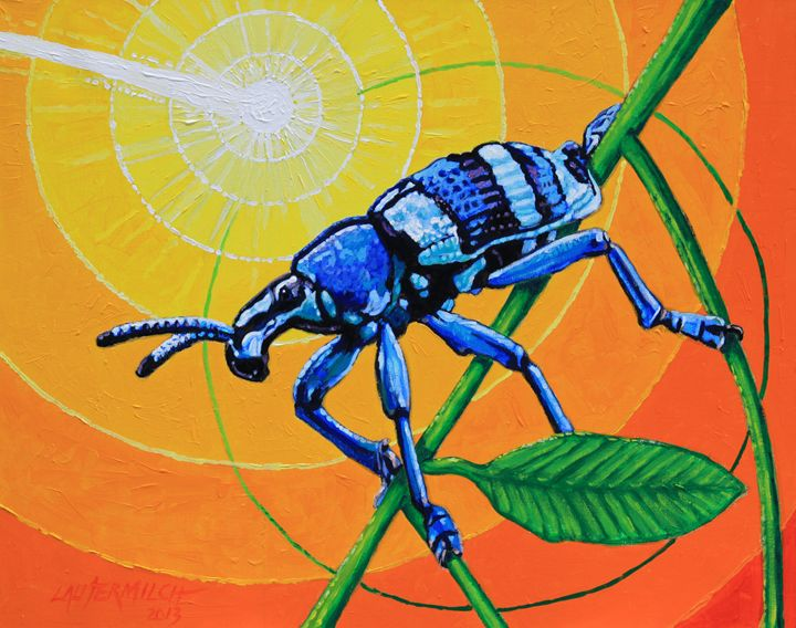 Bug Watching Meteor Explode - Paintings by John Lautermilch