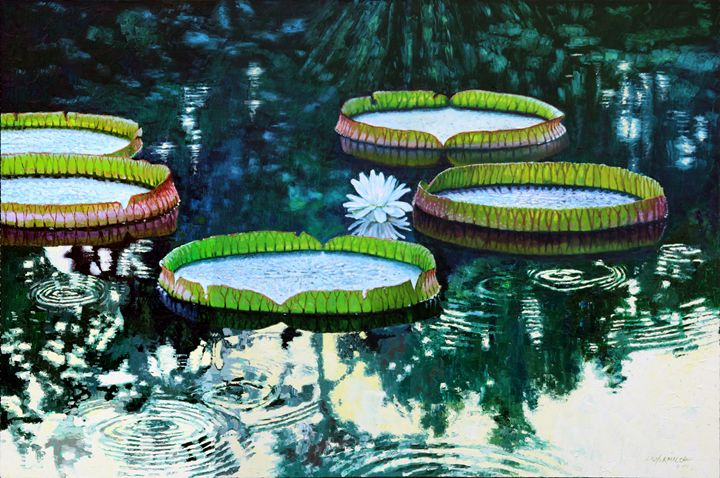 Soft Rain On The Pond - Paintings by John Lautermilch
