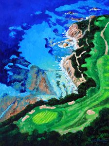 Aerial View of Pebble Beach - Paintings by John Lautermilch