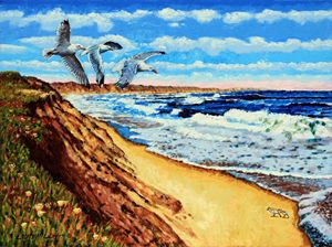 A Walk on the Beach - Paintings by John Lautermilch