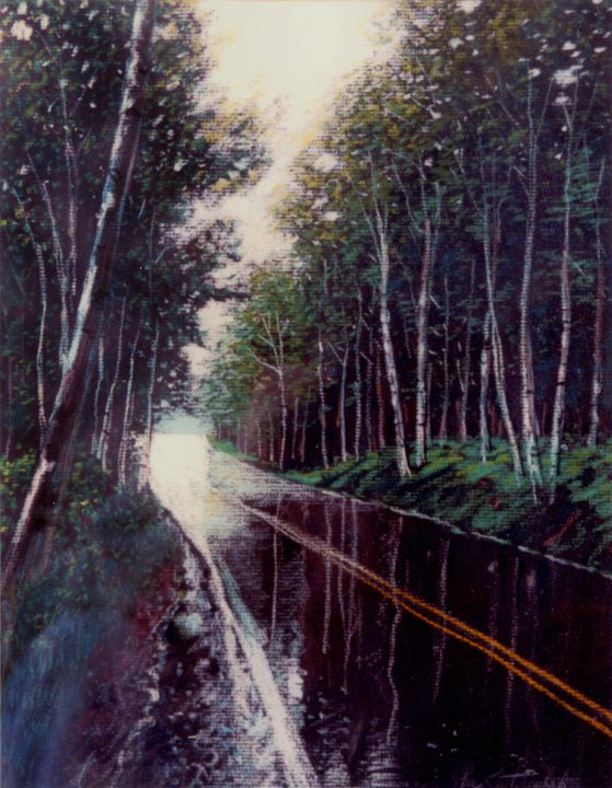 Wet Pavement - Paintings by John Lautermilch