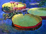 Bright Sunspots on Lilies - Paintings by John Lautermilch