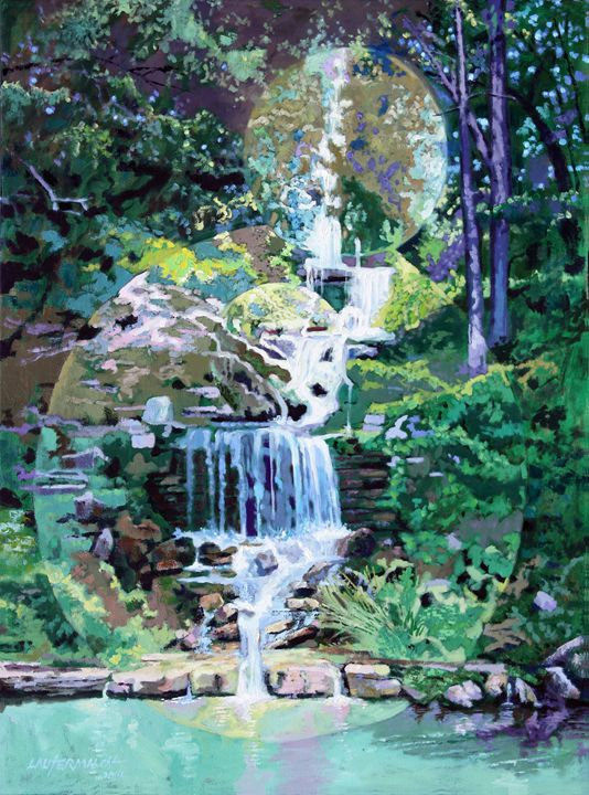 Forest Park Waterfall - Paintings by John Lautermilch
