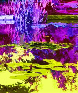 Magenta and Yellow Abstraction - Paintings by John Lautermilch