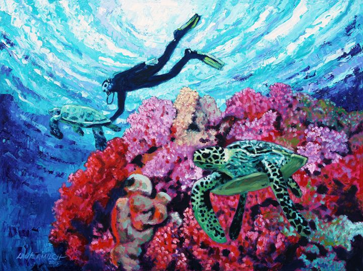 Playing With The Sea Turtles - Paintings by John Lautermilch