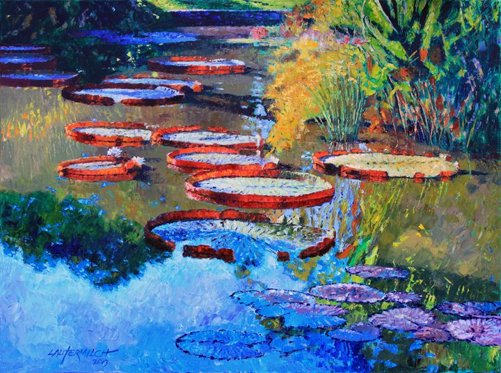 Good Morning Lily Pond - Paintings by John Lautermilch