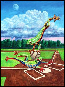 Safe At Home Plate? - Paintings by John Lautermilch