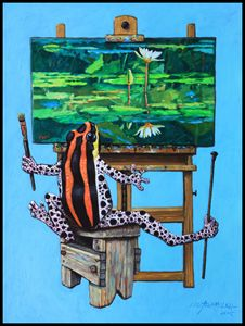 Frog In Studio - Paintings by John Lautermilch