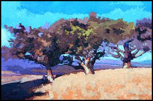 Three Trees On A Hill - Paintings by John Lautermilch
