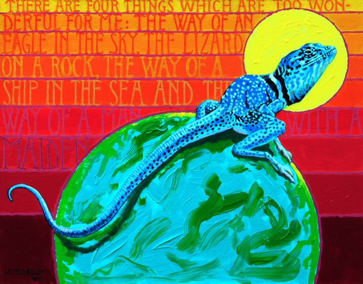 Lizard on a Rock - Paintings by John Lautermilch