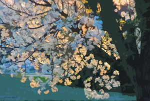 Decorative Pear Trees - Paintings by John Lautermilch