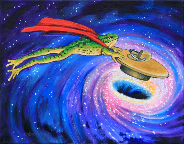 Super Frog Plugging a Black Hole - Paintings by John Lautermilch