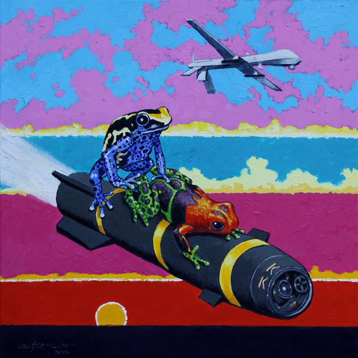 Love on Hell Fire Missile - Paintings by John Lautermilch