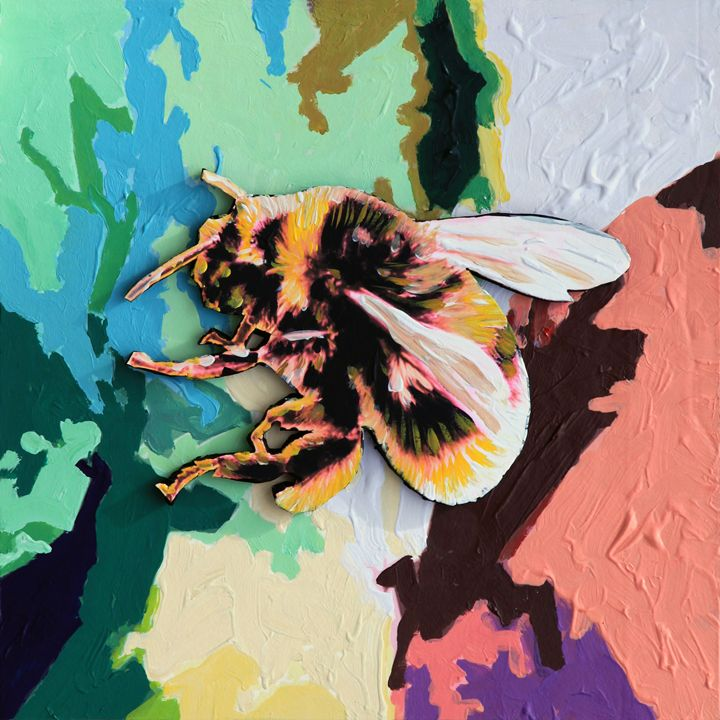 Bumble Bee on Abstraction - Paintings by John Lautermilch