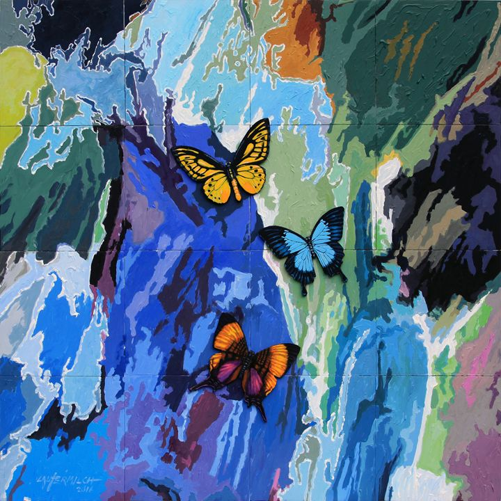 Butterflies Over Abstraction - Paintings by John Lautermilch