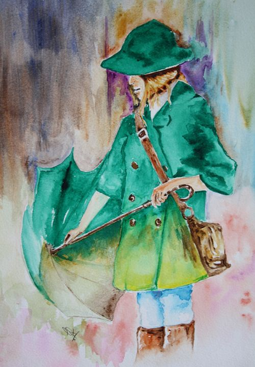 Girl with Umbrella - Gerard Kelly