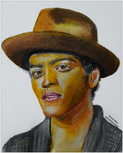 Bruno Mars oil pastel drawing
