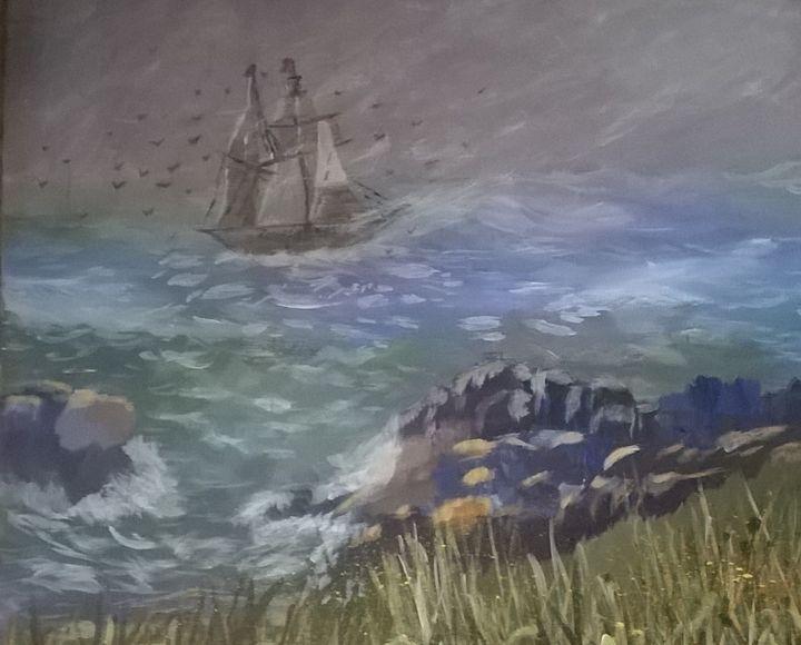 Acrylic of He calms my raging seas - Artbycindyj