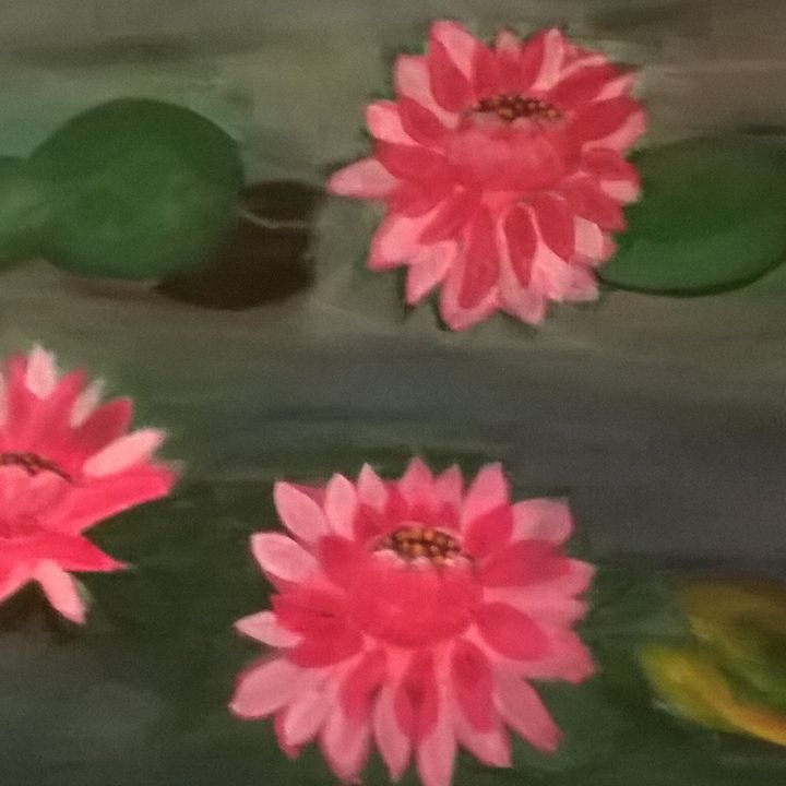 Bright pink water lilies - Artbycindyj