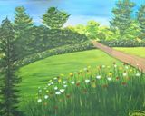 acrylic painting of spring garden