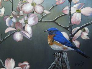 Bluebird and Pink Dogwood