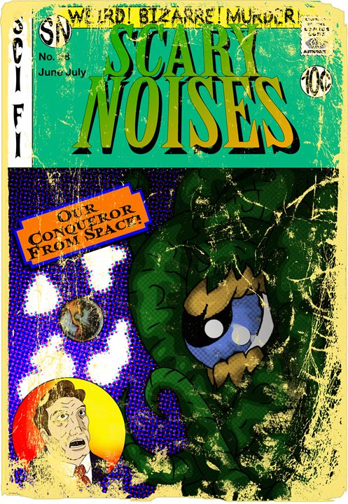 Scary Noises Comic Cover - Crowjan Designs