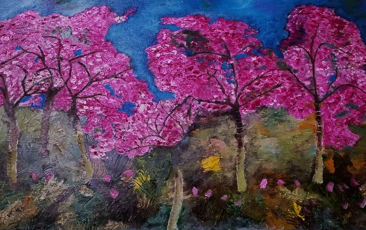 New Jersey Cherry Blossoms - Oil Paintings by Debra-ann