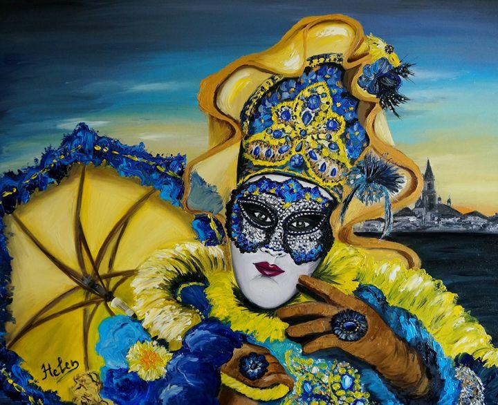Golden venetian mask - Helen Bellart