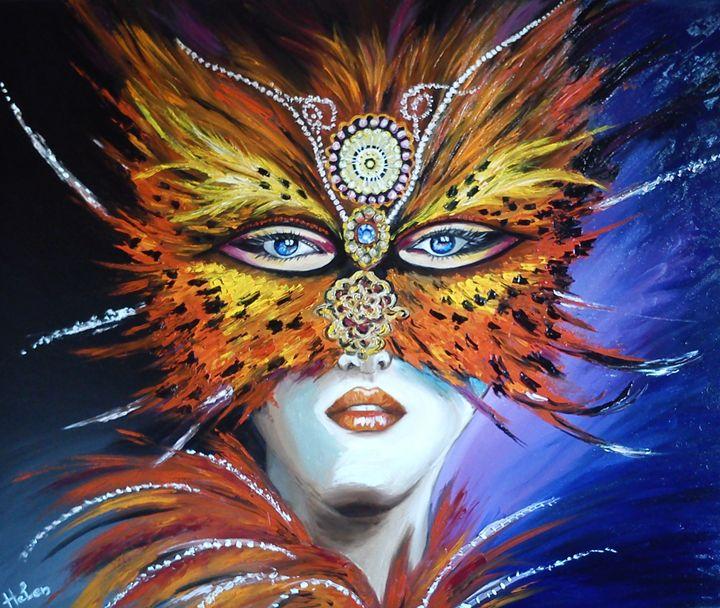 Occult woman with  venetian mask - Helen Bellart