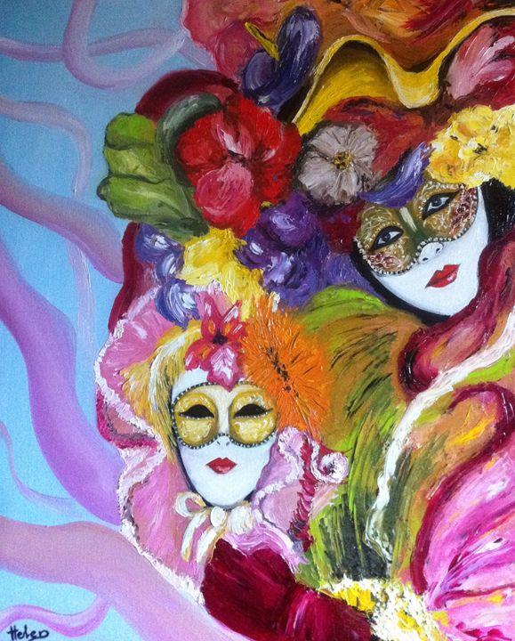 Colorful venetian mask - Helen Bellart