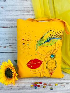 Hand painted canvas bag
