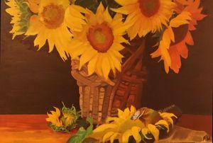 Sun flowers on table.