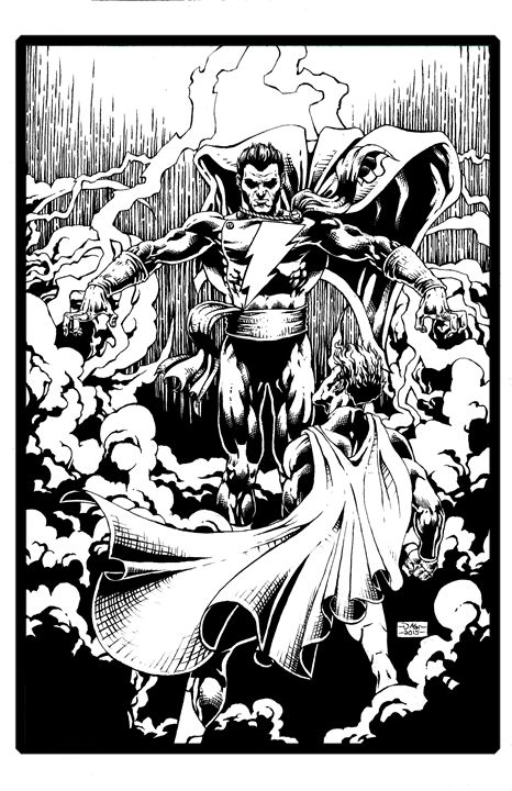 Shazam vs Superman Black and White - David's Art