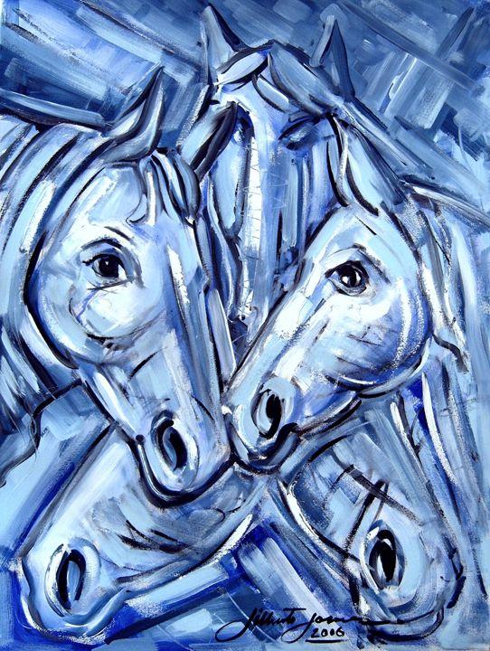 """Cavalos Azuis"" (""Blue Horses"") - Gilberto Gomes Brazilian Painter"
