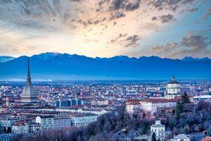 Turin panoramic skyline at sunset