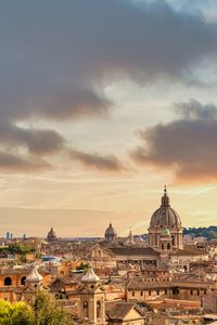 Rome cityscape with sunset sky